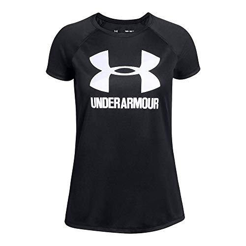 (Under Armour girls Big Logo Solid Short Sleeve T-Shirt, Black (001)/White, Youth X-Small)