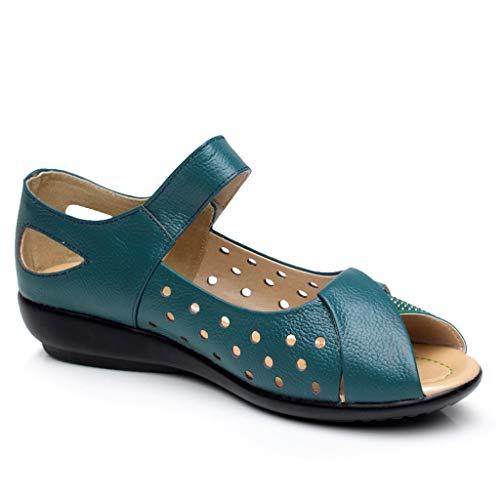 Women's Casual Shoes Hollow Peep Toe Embossed Hook & Loop Mother Soft Sandals Flat Slides Blue