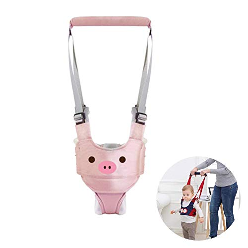 Baby Walker, Adjustable Baby Walking Assistant Toddler Walking Harness Handle Breathable Stand Up and Safety Walking Learning Helper for Kids (Pink, Jockstrap Style)