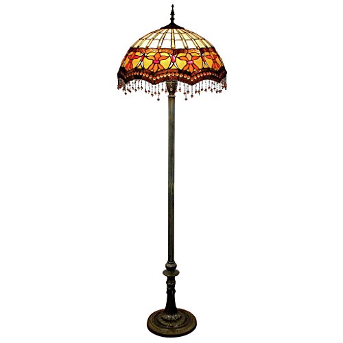 Design Toscano Victorian Parlor Tiffany-Style Stained Glass Floor Lamp, Full Color