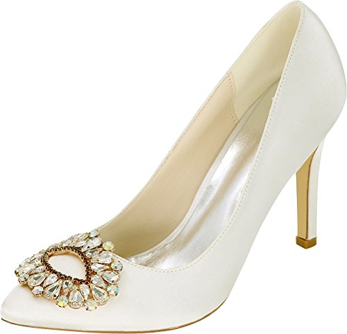 Noble 28 Satin Dress Party 37 Work Ivory Heel Ladies Toe Pumps 0608 Rhinestone Mid Bride Bridesmaid Wedding Eu Pointed E6dEwR