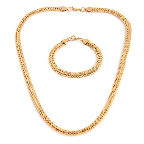 ION Plated Yellow Gold Stainless Steel Bracelet and Bismark Chain Jewelry Set For Women Size 8