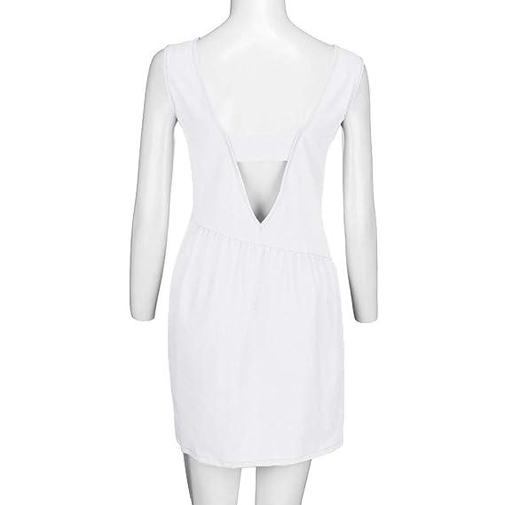 Amazon.com: Womens Sleeveless Solid Backless O-Neck Casual Chiffon Sexy Mini Beach Dress Toponly: Arts, Crafts & Sewing