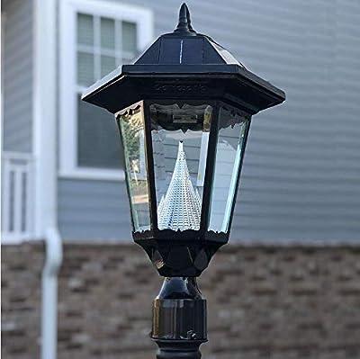 "Gama Sonic GS-99F-L Windsor Lamp Outdoor Solar Light Fixture, 3"" Post-Fitter Mount, Black"