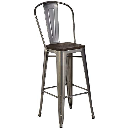 Pioneer Square Midvale 30-Inch Bar-Height Metal Stool with Back Rest, Set of 2, Silver Gray Double Cross Back Metal Stool