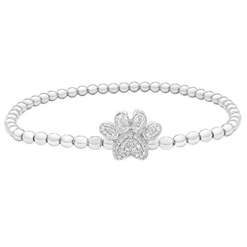 Brilliant Designers 1/5 CTTW Diamond (IJ/I2I3) Dog Paw Beads Bracelet Set In Sterling Silver 7