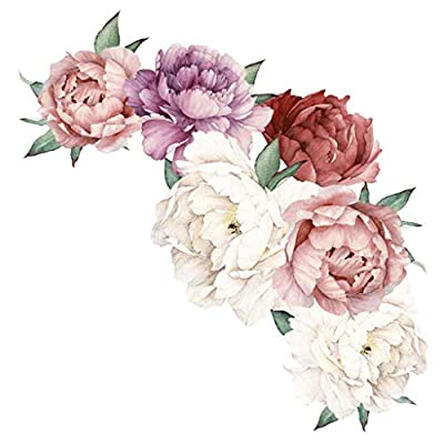 Wall Decals Peony Rose Flowers Wall Sticker Art Nursery Decals Kids Room Home Decor Removable Stickers: Home Improvement