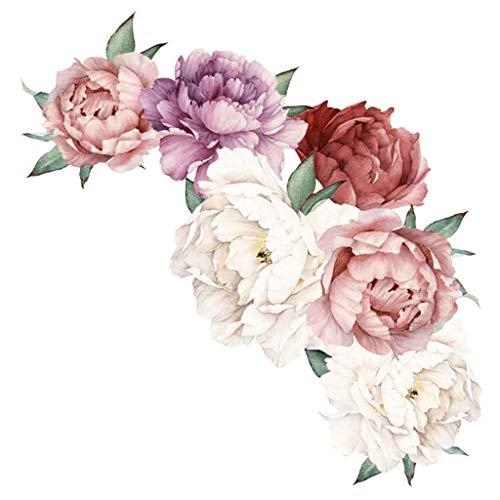 Ktyssp Peony Rose Flowers Wall Art Sticker Decals Kid Room Home Decor Gift (B)