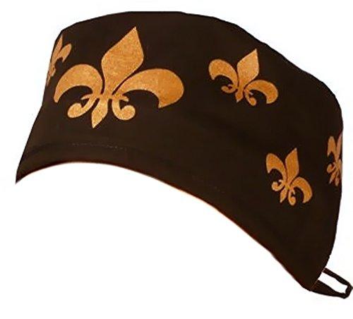 Phoenix Fleur De Lis - Mens and Womens Medical Scrub Cap - Fleur-De-Lis Gold on Black