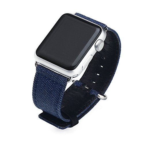 YHNUJM for Apple Watch Band 42mm Genuine Leather and Canvas Fabric Replacement Strap Sports with Stainless Steel Clasp for iwatch Series 3 Series 2 Series 1 Nike+ Edition (Blue)