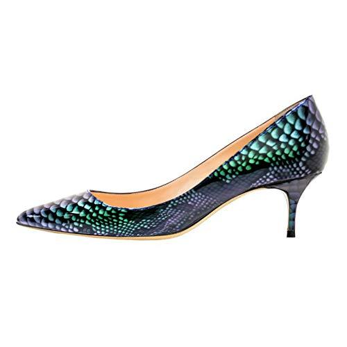 - VOCOSI Women's Closed Pointed Toe Low Kitten Heel Wedding Party Dress Pumps Green-Snakeskin 10 US