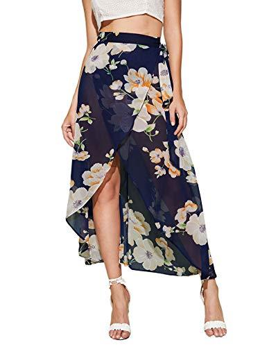 Floral Print Wrap Skirts - WDIRARA Women's High Waist Asymmetrical Floral Print Dip Hem Wrap Skirt Navy L