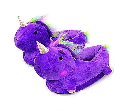 Wiwi.f Zapatillas Unicornio LED Zapatillas De Felpa Unicornio Calzado De Invierno para Niños Zapatos