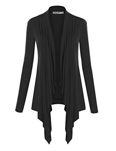 WSK849 Womens Off-Duty Open Front Cardigan XL Black