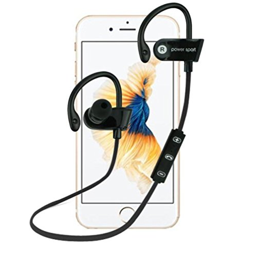 Bluetooth Headphones, AutumnFall Wireless 4.1 In-Ear Earbuds Stereo Earphones, Secure Fit for Sports with Built-in Mic [Upgraded Version] (Black)