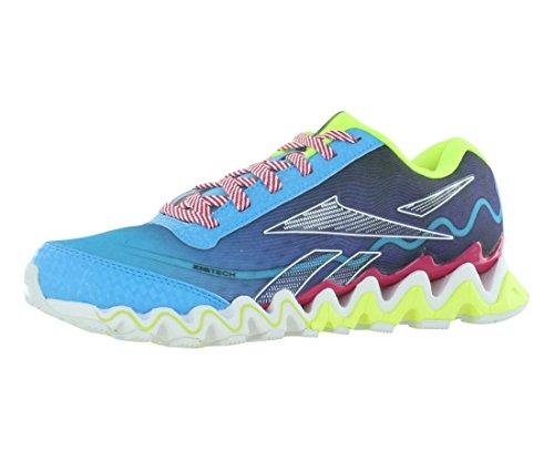 Reebok Zigultra Running Shoe (Little Kid/Big Kid),Blue Blink/Ultra Violet/Candy Pink/Neon Yellow/White/Black,7 M US Big Kid