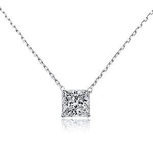 14K White Gold Chain Necklace 0.25 carat Princess Diamond Solitare Pendant Necklace