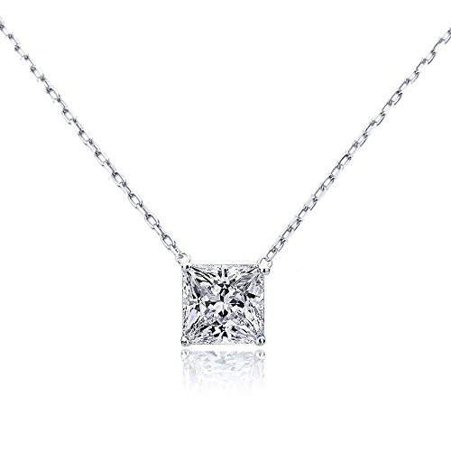 14K Yellow, Rose or White Gold Chain Necklace 0.15 carat Princess Diamond Solitare Pendant Necklace ()