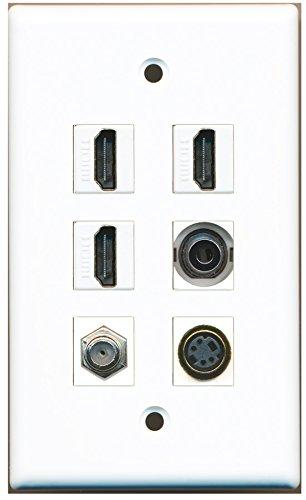 RiteAV - 3 HDMI 1 Port Coax Cable TV- F-Type 1 Port S-Video 1 Port 3.5mm Wall Plate