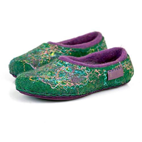 BureBure Warm 2 Layered Green Purple Wool Slippers for Women Handmade in - Latex Layered