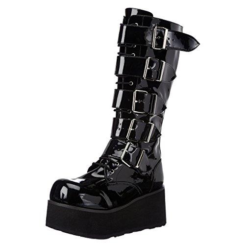3 1/4 Inch Heren Platform Knie Laarzen 5 Buckled Zwarte Combat Boots Punk Goth Blackpatent