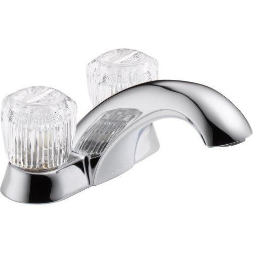 Two Handle Centerset Bathroom Faucet - Less Pop-Up, Chrome (Chrome 4' Showerhead)