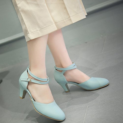 Aiyoumei Femmes Cheville Sangle Kitten Talon Pompes Solides Avec Boucle Chaussures Confortables Bleu