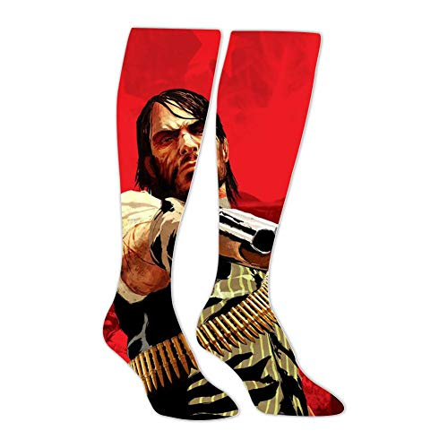 Unisex Red Dead Rede-mption 2 Gun Kill John 3D Printed High Knee Socks Warm Graphic Long Stockings for Men Women