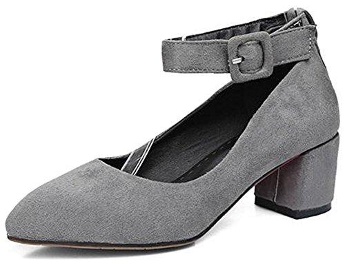 Idifu Donna Vintage Scarpe A Punta Décolleté In Pelle Scamosciata Con Cinturino Alla Caviglia E Cinturino Alla Caviglia Grigio