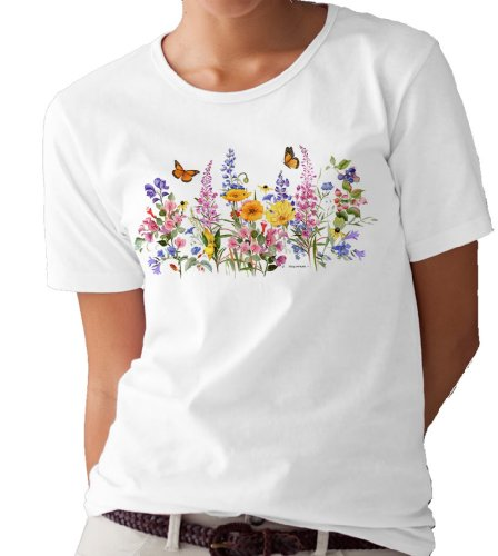 - Monarch Butterflies and Flowers T-Shirt/tee by Valerie Pfeiffer - X-Large White