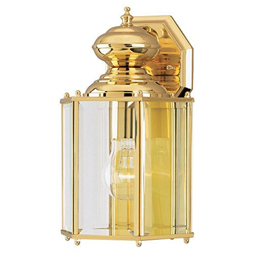 Westinghouse Lighting 6685300 One-Light Exterior Wall Lantern, Polished Brass Finish on Solid Brass and Steel with Clear Beveled Glass Panels (A19 Brass Sconce)