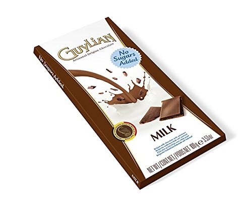 Guylian - MILK Chocolate No Sugar Added Bar - 100gr/3.52oz bar (8 bars PACK)