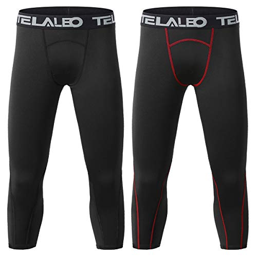 TELALEO Boys Youth Compression Base Layer Pants 3/4 Tights Running Leggings Capris-2Pcs-M