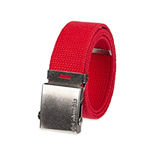 Columbia Men's & Boys' Military Web Belt – Adjustable One Size Cotton Strap and Metal Plaque Buckle