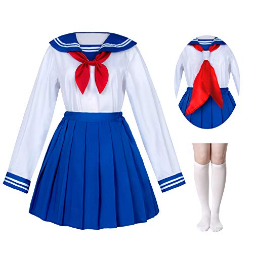 Japanese School Girls Sailor JK Uniform Bule Pleated Skirt Anime Cosplay Costumes with Socks Set(SSF31) Plus Size 5XL ()
