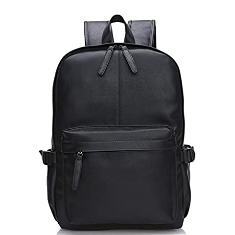 Abshoo Vintage Synthetic Soft Leather Casual College Travel Backpacks For Men (Black)