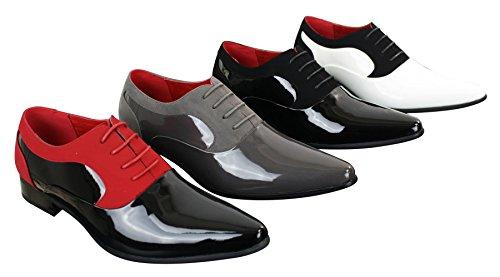 Homme Cuir Élégantes Brillantes Noir rouge Italien Lacets Daim À Habillées Designer Chaussures Vernies qCvzYFw