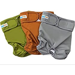 Reusable Washable Dog Diapers - Size Small - (3 Pack) - Durable Dog Wraps for both Male and Female Dogs - Premium Quality