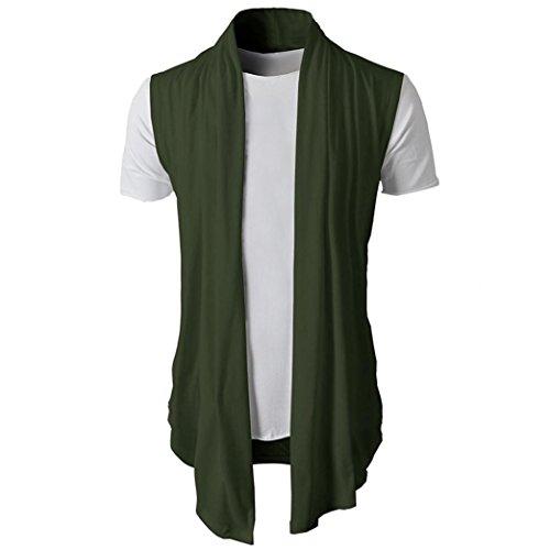 kaifongfu Men's Cardigan Sleeveless Top,Solid Color Slim Top Slim Fit Dress Shirts Formal Tops (Army Green,M) ()