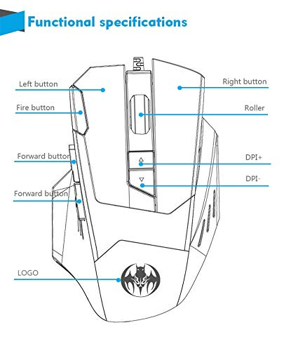 UUTAG Professional 6800 DPI High Precision USB Wired Gaming Mouse,8 Buttons 7 kinds modes of LED Colorful Breathing Light