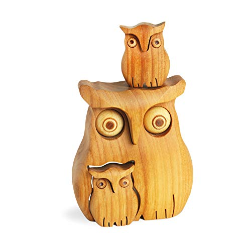 (Black Forest Owl with Two Owls Wooden Animal Handmade Gift from Germany)