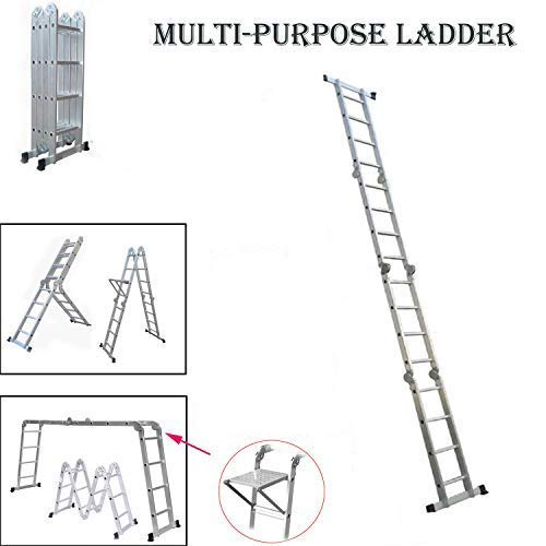 Autobaba 4.7m Aluminium Multi-Function Ladder 15.5ft Multi-Purpose Folding Ladder Extendable Step Ladder with 1 Tool Tray, 4x4 Steps, US Stock