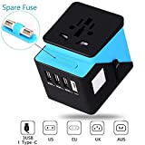 Universal Travel Adapter, Travel Power Adapter, All in One Travel Adapter with 3 USB & 1 Type-C 3.4A, International Power Adapter for UK, EU, US, AUS, and more 170 countries (blue1)