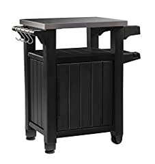 When your outdoor space is limited but you don't want to give up style & function, look no further than the Unity Entertainment Storage Cart / Prep Station with Metal Table Top by Keter. This rolling entertainment storage table prep stati...
