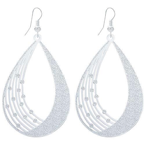 - Lightweight Bohemian Statement Silver Alloy Filigree Cutout Oval Teardrop Dangle Drop Earrings for Women