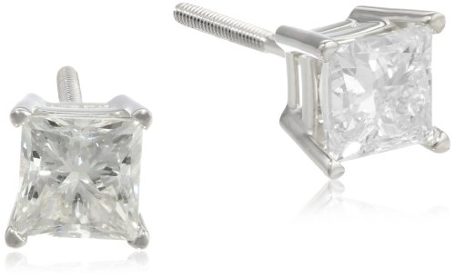 Princess Cut Diamond 4 Prong (IGI Certified 18k White Gold Princess-Cut 4-Prong Diamond Studs (2 cttw, H-I Color, SI1-SI2 Clarity))