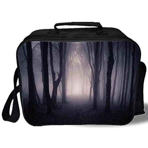 Insulated Lunch Bag,Farm House Decor,Path Through Dark Deep in Forest with Fog Halloween Creepy Twisted Branches Picture,Pink Brown,for Work/School/Picnic, Grey -