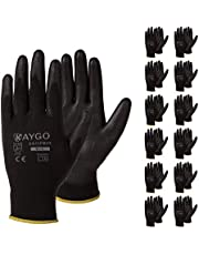 Safety Work Gloves PU Coated-12 Pairs,KAYGO KG11PB, Seamless Knit Glove with Polyurethane Coated Smooth Grip on Palm & Fingers, for Men and Women, Ideal for General Duty Work