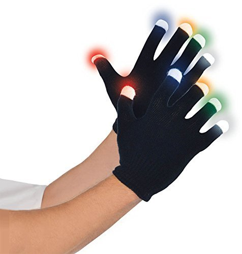 Amscan Adult Bright Electric Party Led Gloves (1 Piece), One Size, Black/Neon