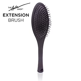 The Hair Shop Black Loop Brush – Salon Professional Grade with Matted Black and Ergonomic Design – Safe Detangler Tool for 100% Remy Human and Synthetic Hair Extensions and Wigs